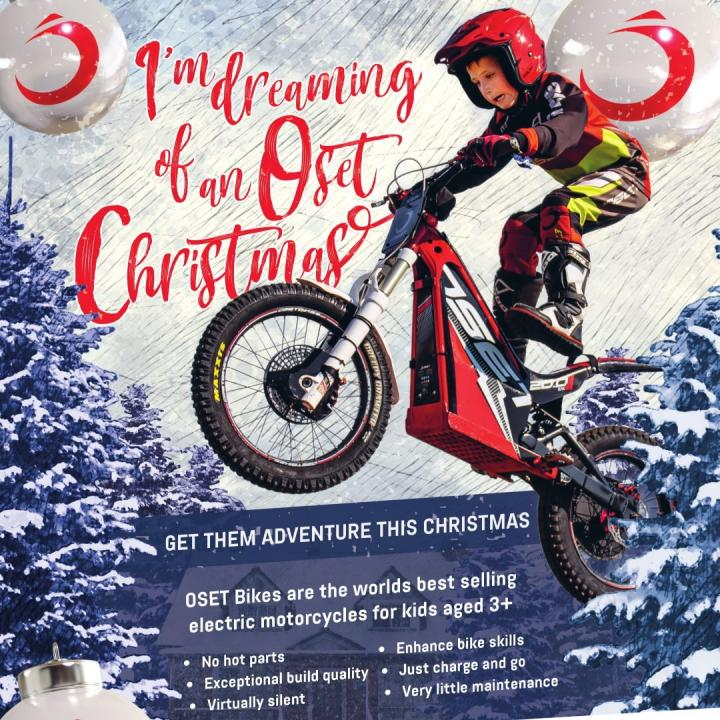 I'm dreaming of an OSET Christmas!! 🤘⚡🎄 . . Now with special offers on a range of our incredible electric motorcycles for kids ages 3 -15 !! . . Click the link in bio for more details . .